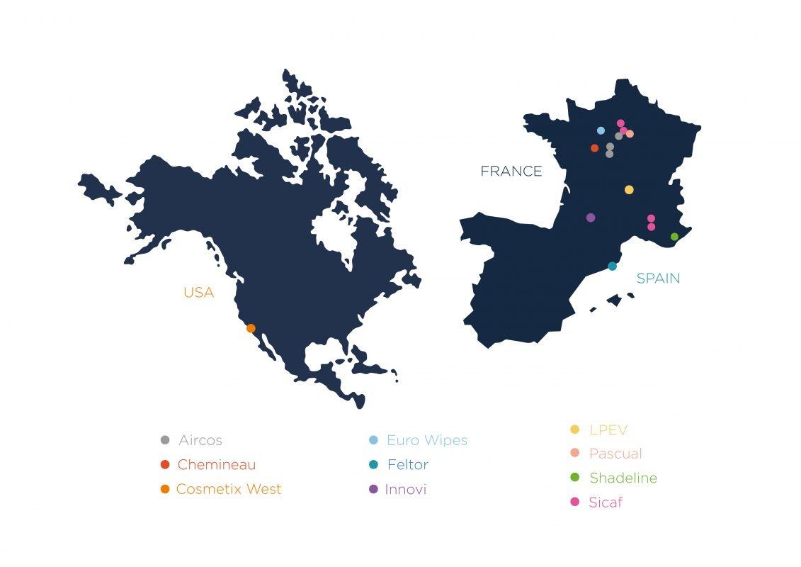 Carte internationale du groupe Anjac basé en France, en Europe, Espagne et Etats-Unis USA, leader mondial de la cosmétique et pharma